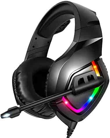 RUNMUS Gaming Headset PS4 Headset with 7.1 Surround Sound, Xbox One Headset with Noise Canceling Mic & RGB Light, Over Ear Headphones Compatible w/ PS4, Xbox One(Adapter Not Included), PC, Laptop, NS
