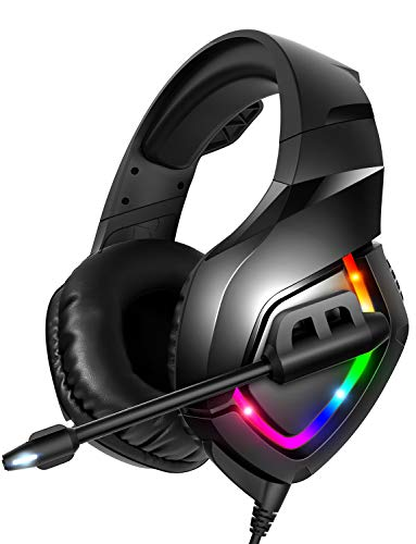 RUNMUS Gaming Headset PS4 Headset with 7.1 Surround Sound, Xbox One Headset with Noise Canceling Mic & RGB Light, Compatible w/ PS4, Xbox One(Adapter Not Included), PC, Laptop NS Sega Saturn