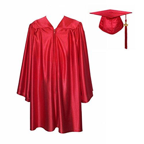 GraduationService Unisex Kindergarten Graduation Shiny Gown Cap Tassel 2018 Red, 33