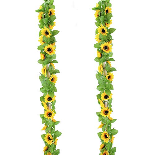 CBTsupply 2 Pack Artificial Sunflower Garland Silk Sunflower Vine Artificial Flowers with Green Leaves for Home Garden Wedding Party Decor for Home Garden Wedding Party Kitchen Decor from CBTsupply