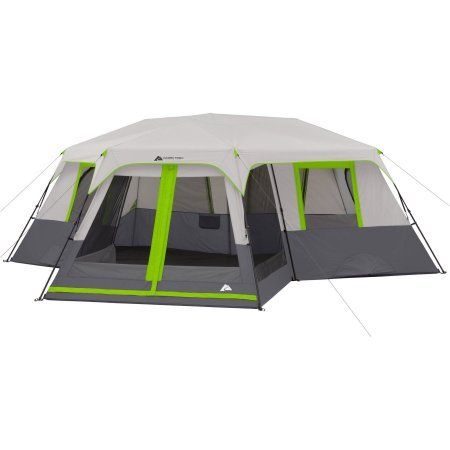 3 Room Camping Tent - Ozark Trail 12-Person 3-Room Instant Cabin Tent with Screen Room (Green)