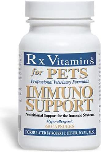 Rx Vitamins for Pets Immuno Support for Dogs Cats – Immune System Support – Help Brain Function Bones Muscles Stress Aging – 60 Capsules