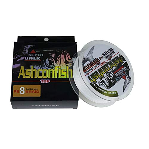 Ashconfish Braided Fishing Line-8 Strands Super Strong PE Fishing Wire 500M/546Yards Multifilament Fishing String Ultra Power Heavy Tensile for Saltwater & Freshwater 60LB White