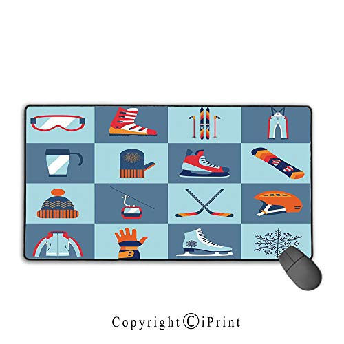 Waterproof mouse pad,Kids,Ice Skating Winter Sports Skiing Boot Cap Glasses Glove Helmet Skates Snowboard Print,Ideal for Desk Cover, Computer Keyboard, PC and Laptop Mouse pad with lock,15.8