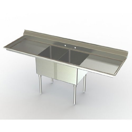 Aero NSF Deluxe Sink, 2-Bowl, With 30 inch Left Hand/Right Hand Drainboards, 30 inch D (Front to Back) X 20 inch W (Left to Right) Bowl