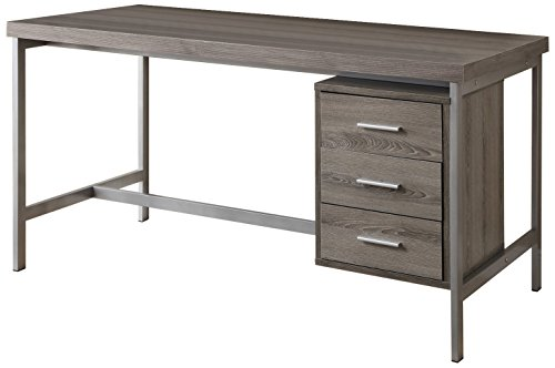 Monarch Reclaimed-Look/Silver Metal Office Desk, 60-Inch, Dark Taupe