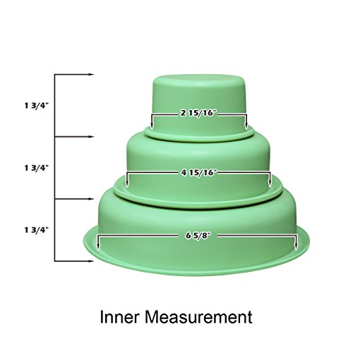 Round Silicone 3-Tiered Cake Pan Set + Children Kids Baking Set of 3 + FDA Approved Bake Pans- Easy Cleaning Molding- Best for Cake/ Pies/ Bread/ Ice Cream + Bonus $6 Silicon Oven Mitt (Green)