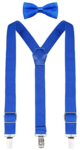 (Lilax Boys Solid Color Adjustable Elastic Suspender & Bow Tie for Kids and Baby 22'' Royal)