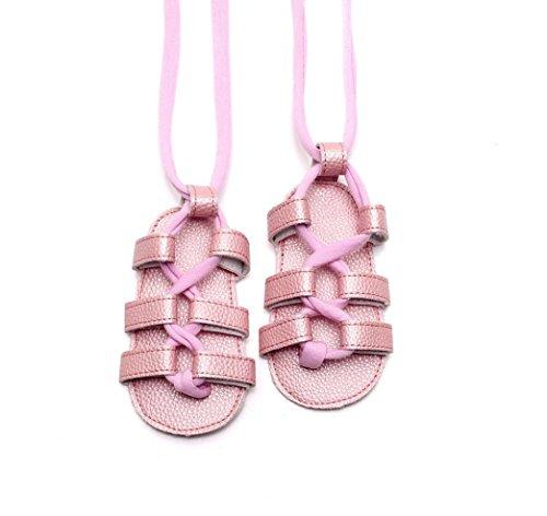 Leder bandage Sandalen Baby Sandalen - Baby Mädchen - Anti-Rutsch-Schuhe - weiche Sohle einzelne Schuhe - Sommer-Kinderwagen weiche flache Schuhe Rosa