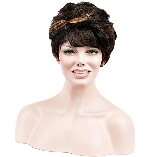 """11"""" 28CM Synthetic african american wigs for women Chic pixie cut short wavy black wig with bangs 4/26#"""