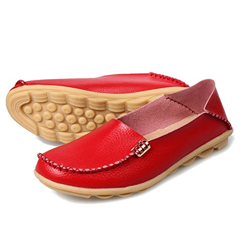 LINGTOM Women's Genuine Leather Loafers Casual Moccasin Shoes Flat Driving Slip-On Shoes Slippers Red FBG9D