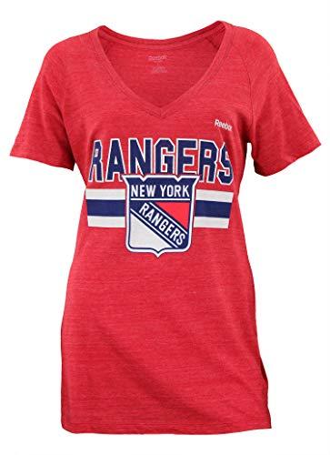 Womens V-neck Rangers - NHL New York Rangers Women's Stacked Stripe Tri-Blend V-Neck Tee, Large, Red
