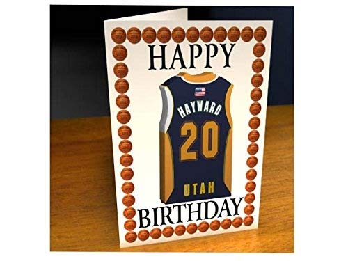 Tarjetas de cumpleaños con diseño de camiseta de baloncesto de la NBA (personalizable), color Utah Jazz NBA Basketball Greeting Card: Amazon.es: Oficina y ...