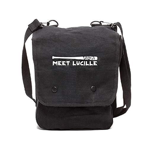 Grab A Smile Meet Lucille The Walking Dead Canvas Crossbody Travel Map Bag Case, Black & White