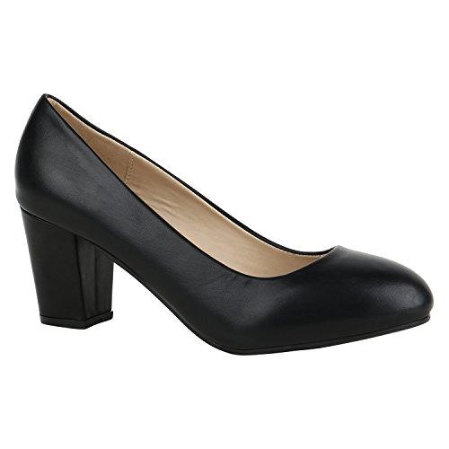 Stiefelparadies Klassische Damen Pumps Mid Heels Leder-Optik Schuhe  Blockabsatz Flandell Schwarz Glatt