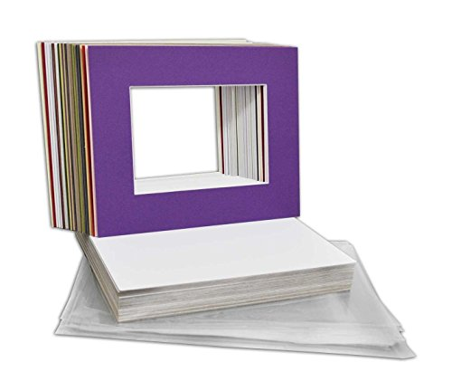 Golden State Art Pack of 25 Mixed Colors Pre-Cut 8x10 Picture Mat for 5x7 Photo with White Core Bevel Cut Mattes Sets. Includes 25 High Premier Acid Free Mats & 25 Backing Board & 25 Clear Bags Print Pictures Photo Paper