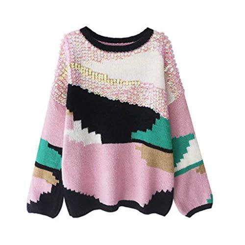 Colore Spessore Pink Maglione Paillettes E Mohair Autunno Inverno Llxym Donna Abbinamento Colletto Pullover CqxARt