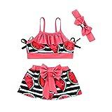 NUWFOR Children Kids Girls Bikini Beach Suspender Tops+Skirt+Headbands Swimsuit Set(Red,18-24 Months)