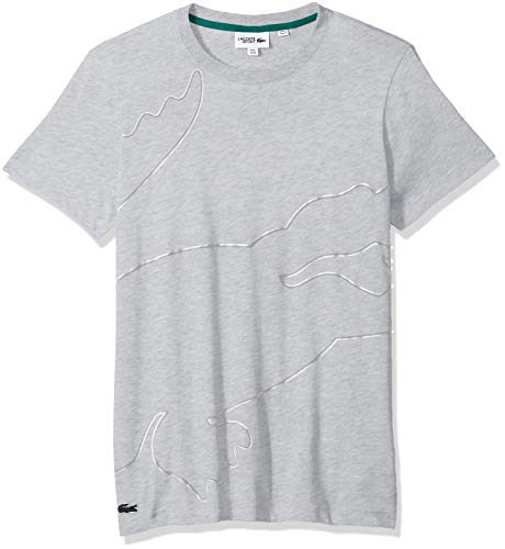 (Lacoste Men's Sport Short Sleeve Outlined Big Croc T-Shirt, Silver Chine/White/Platinum/Woodland Green, 4X-Large)