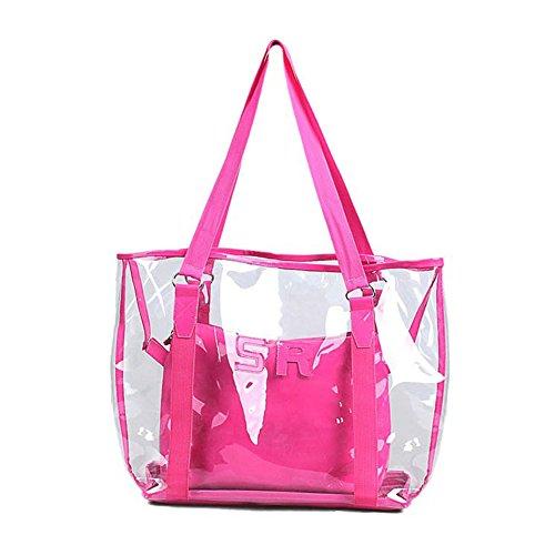 Hombro De Bolsas Jelly Playa Espeedy Candy Bolso Roja Transparente Rosa Mujer Moda q86wZ17