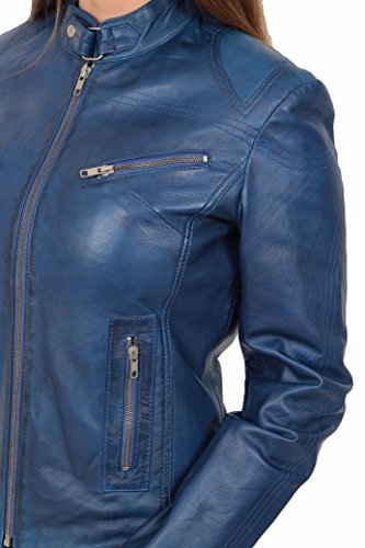 Cuero Ajustado Azul del Estilo Chaqueta Biker House Mujer Casual Of Khloe Genuino Leather q6cBHft