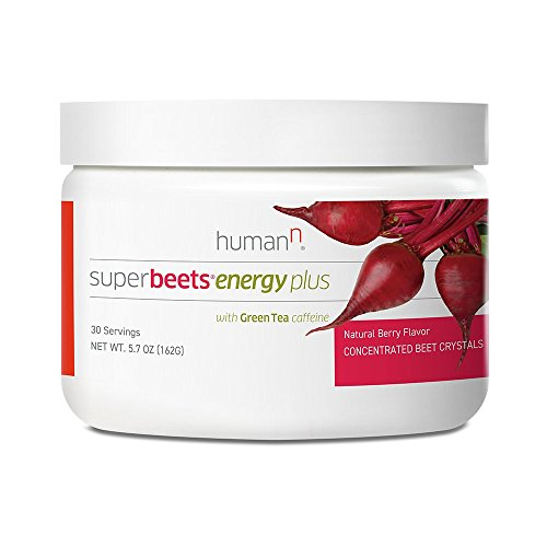 HumanN SuperBeets Energy Plus Superfood Concentrated Non-GMO Beetroot Supplement with Green Tea Extract (Natural Berry Flavor, 5.7-Ounce) ()
