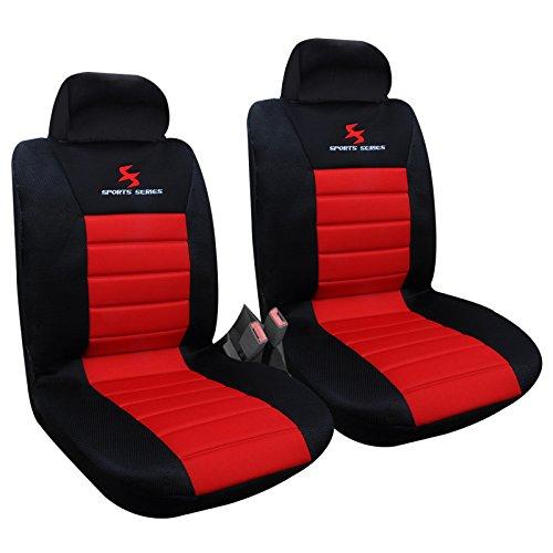 2 x Vordere Autositzbezug Sitzbezüge Schonbezüge Werkstattschoner, Komplettset , Sitzschoner Set , universal Sitzauflager , Schwarz/Rot , AS7257-2