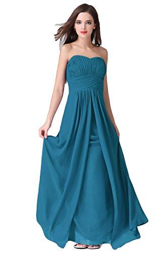 WeiYin Women's Chiffon Long Sweetheart Evening Gown Party Dresses Teal US 2