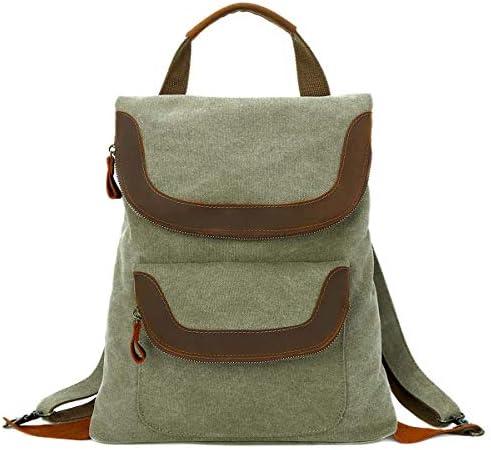 Canvas Backpack Vintage Daypack Casual Backpacks Rucksack for Men Women Outdoor Travel Hiking 1011-Olive Green-N