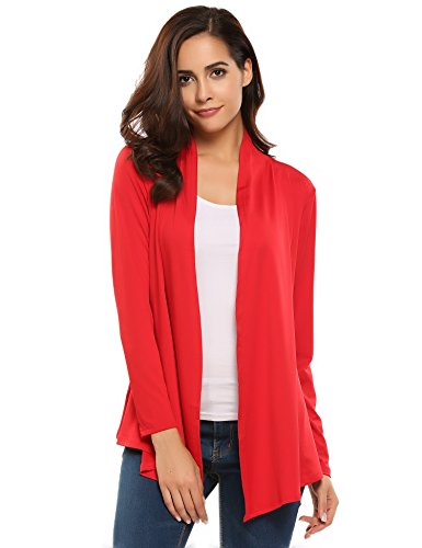 Misakia Women's Long Sleeve Jersey Cardigan (25+ Colors/S-XL) (Red S) ()