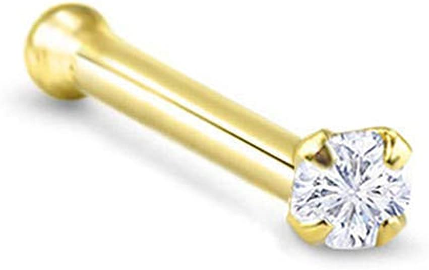 20g 2mm Real Diamond 14kt Yellow Gold Nose Bone