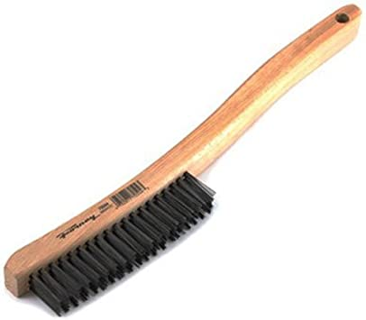 Forney 70490 Wire Scratch Brush Brass with Wood Handle 7-3//4-Inch-by-.006-Inch