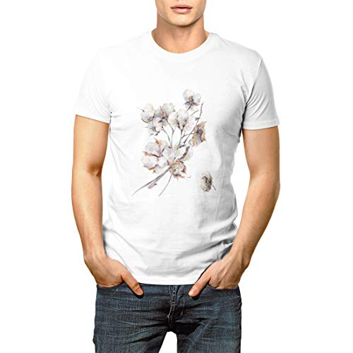 Drawing Watercolor Vintage Bouquet of Twigs and Flowers Men's Short Sleeve T-Shirt