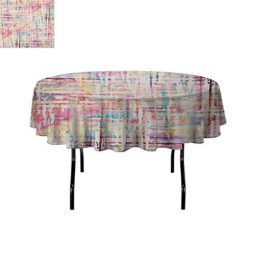 Douglas Hill Grunge Washable Tablecloth Abstract Grunge Paint with Manifold Complicated Mixed Figures and Lines Artsy Print Dinner Picnic Home Decor D47 Inch Multicolor
