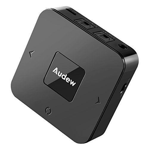 Audew Bluetooth Transmitter and Receiver, 2 in 1 Car Bluetooth Wireless Adapter, RX/TX mode for Headphone, Speakers, Home/Car Stereo System(A2DP/AVRCP), SPDIF and AUX, Apt-X low latency