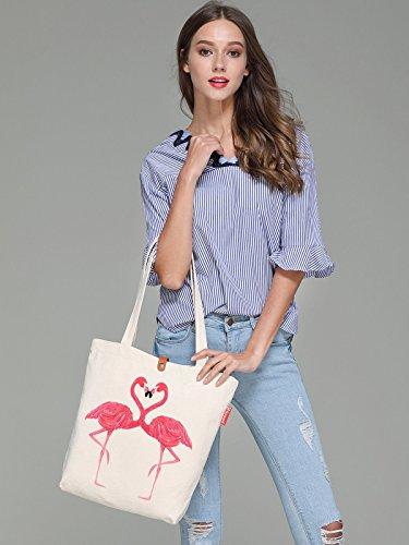 So'each Women's Flamingo Lover Graphic Top Handle Canvas Tote Shoulder Bag
