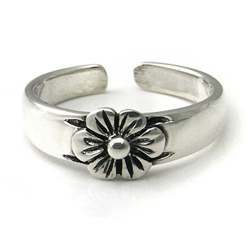 Flower Adjustable Toe Ring (Sterling Silver Hawaiian Plumeria Flower Adjustable Toe Band Ring)
