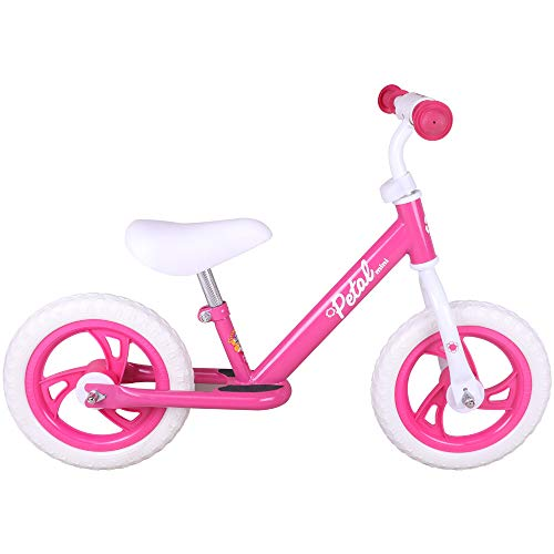 JOYSTAR 12″ Balance Bike for Boys & Girls 1 2 3 4 5 Years Old, Toddler Push Bike with Footboard & Handlebar Protect Pad, Pink