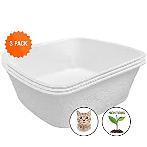 """Easyology Extra Large Disposable Cat Litter Boxes, Durable, 100% Waterproof, Controls Odor (3 Pack) 17.5"""" x 15.5"""" x 5.5"""""""