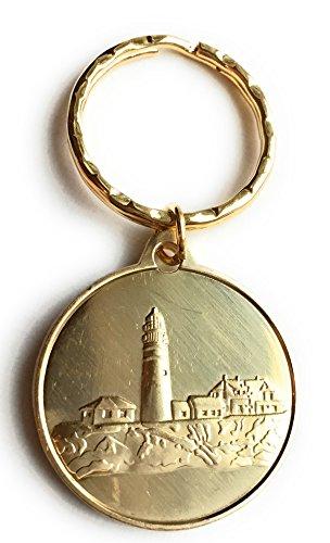 Lighthouse Medallion (Fog Light Prayer Keychain Lighthouse Clean Bronze Step 12 Spiritual Medallion Key Tag)