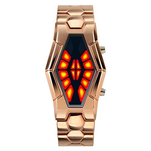 Men's waterproof sports watch,Cobra shape zinc alloy strap fashion cool two-color led boot animation wristwatch-B Animation Sports Quartz Watch
