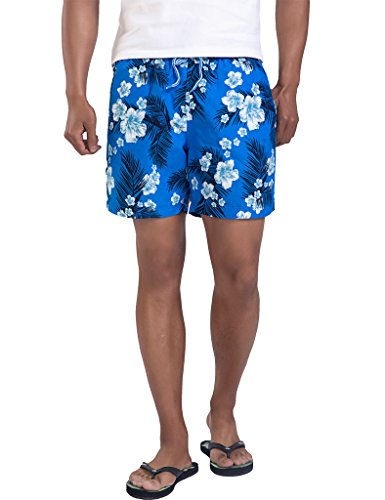 Hawaiian Print Swim Trunks (Magic Power Mens Palm Print Elasticated Waistband Mesh Lining Hawaiian Style Board Shorts Medium)