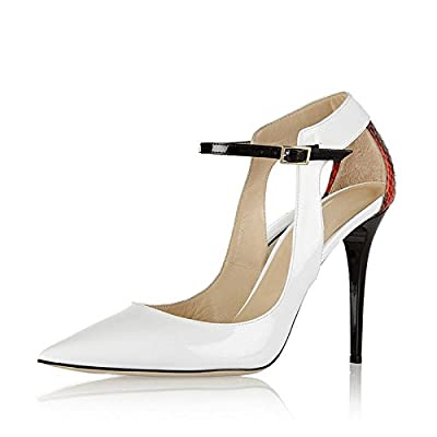 JF shoes Women's Pointed Closed Pumps, Stiletto Sandals, Fashion Dress Sandals Evening Dress Wedding Party White Size 9.5-10
