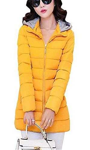 Vintage Calda Tasche Giacca Donna Outwear Monocromo Moda Con Manica Trench Lunga Laterali Invernali Gelb Cerniera Cappuccio Piumino X1R5q