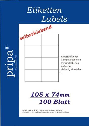 800 etichette da 105 x 74 mm, autoadesive, su 100 fogli DIN A4, alta qualità, bianco B&S - PRIPA 10574100