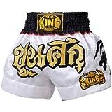 Top King Muay Thai Boxing Shorts White Satin Shorts 026