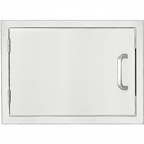 Single Drawers Mounted Flush (BBQGuys.com Kingston Series 24-inch Stainless Steel Left-hinged Single Access Door - Horizontal)