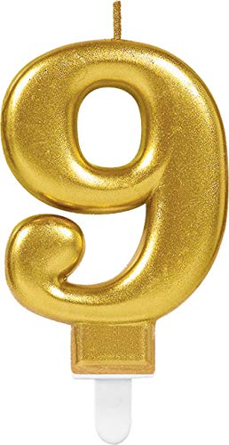 Amscan – Vela Cumpleaños, número 9, oro, 9.5 cm.