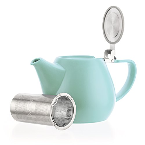 (Tealyra - Jove Porcelain Large Teapot Turquoise - 34.0-ounce (3-4 cups) - Japanese Made - Stainless Steel Lid and Extra-Fine Infuser To Brew Loose Leaf Tea - 1000ml)