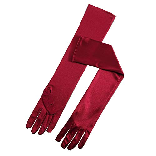 Satin Wedding Gloves Long For Women Elbow Length Burgundy Evening Party Finger Gloves For Brides 22
